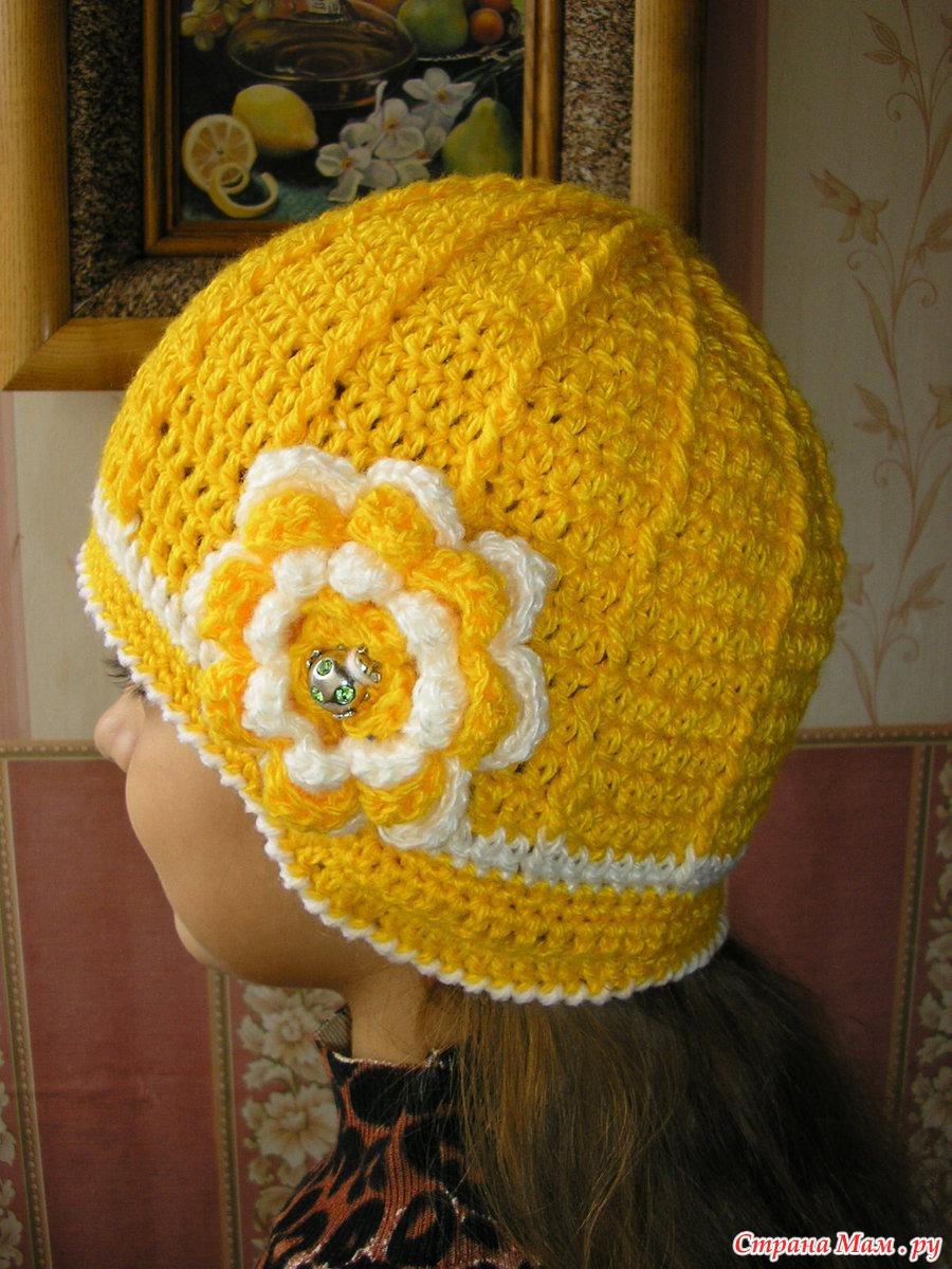 Вязание осенних шапочек для девочек 96