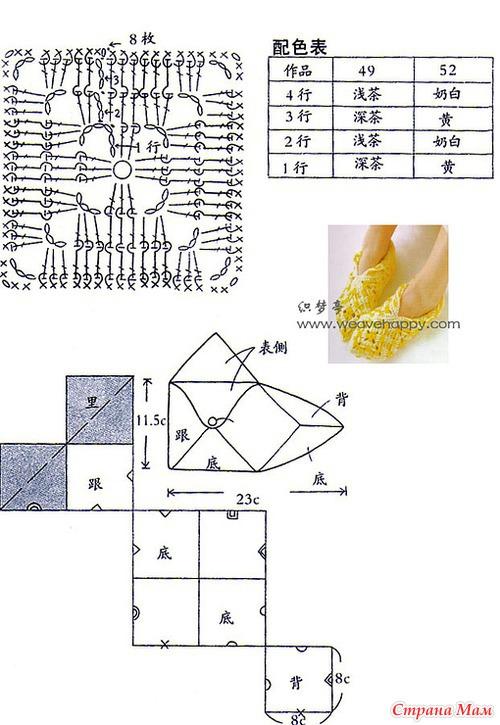 Тапочки вязанные крючком схема квадрат