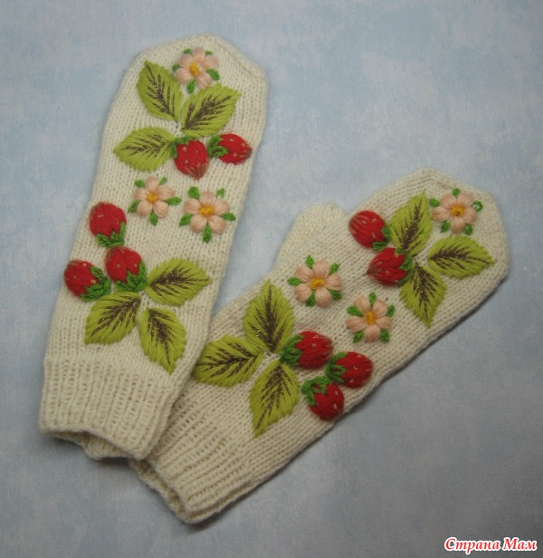 Вышивка на варежках своими руками фото