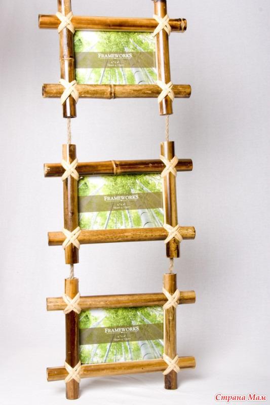 Своими руками фоторамку из бамбука 14