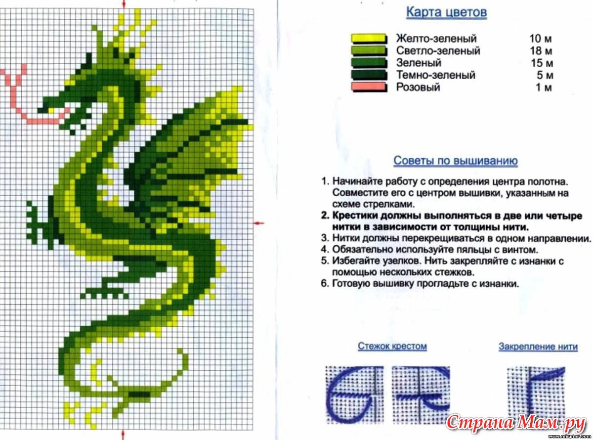 Вышивка схем драконы