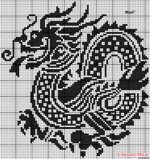 Скачать схему вышивка дракона