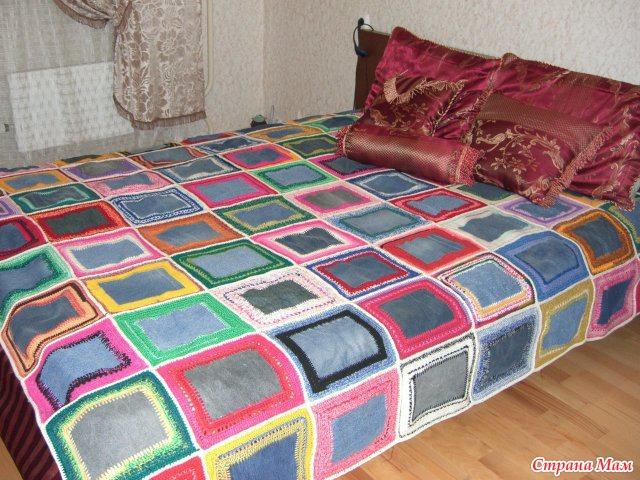 Покрывало на кровать джинс