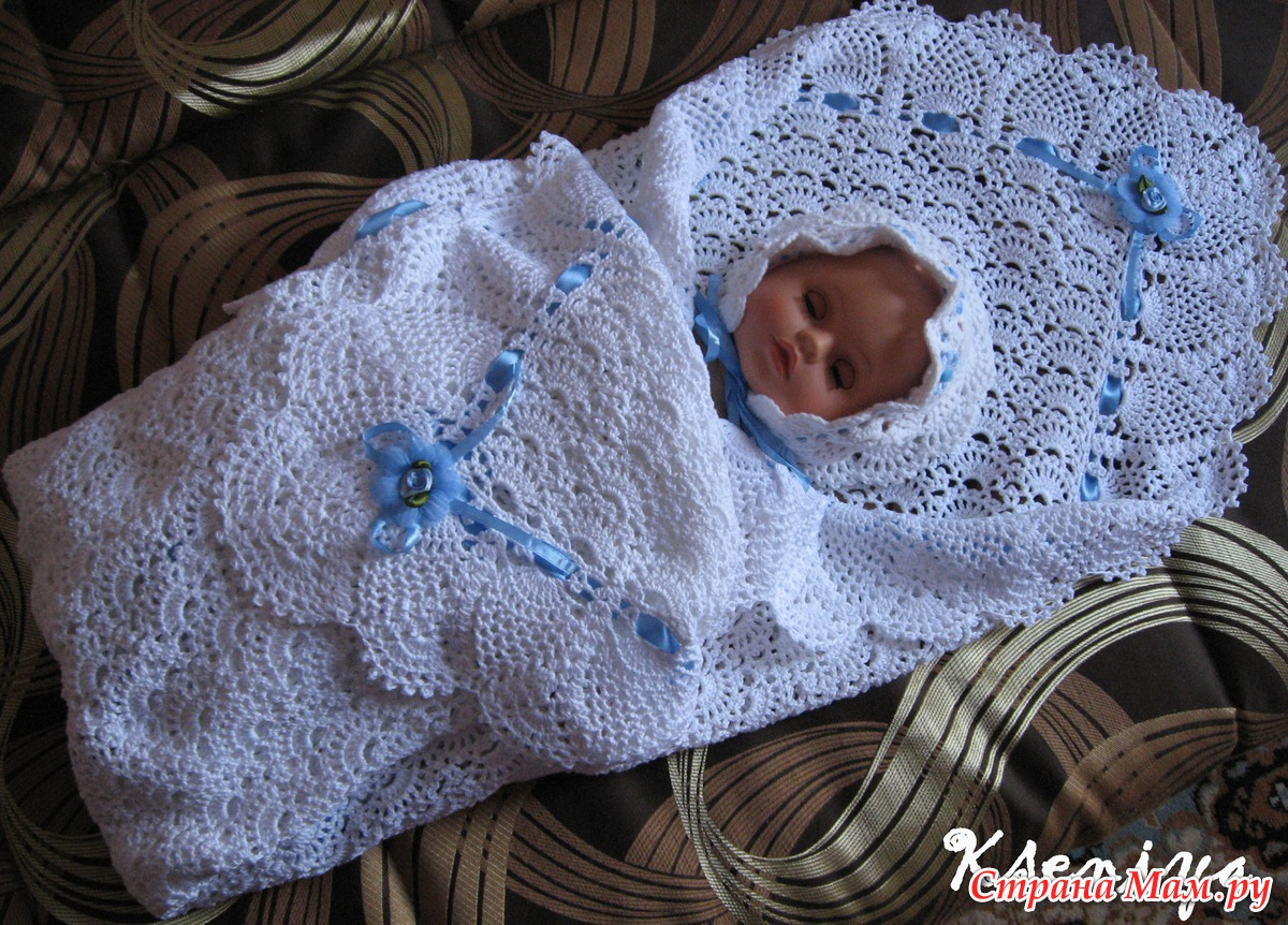 Вязаный плед своими руками для новорожденных