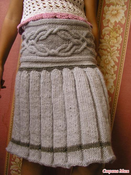 Вязание на спицах складочка