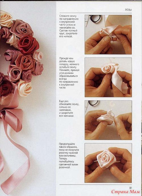 Как сделать розу из ленточек для начинающих