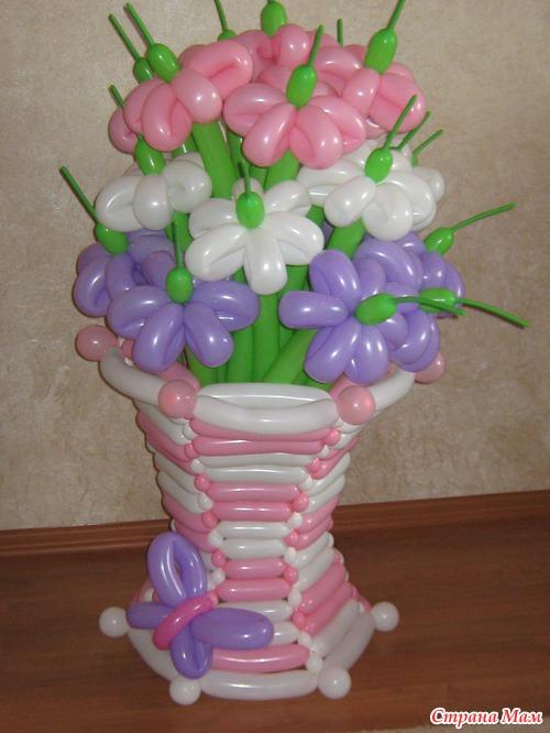 Корзина с цветами из шаров своими руками