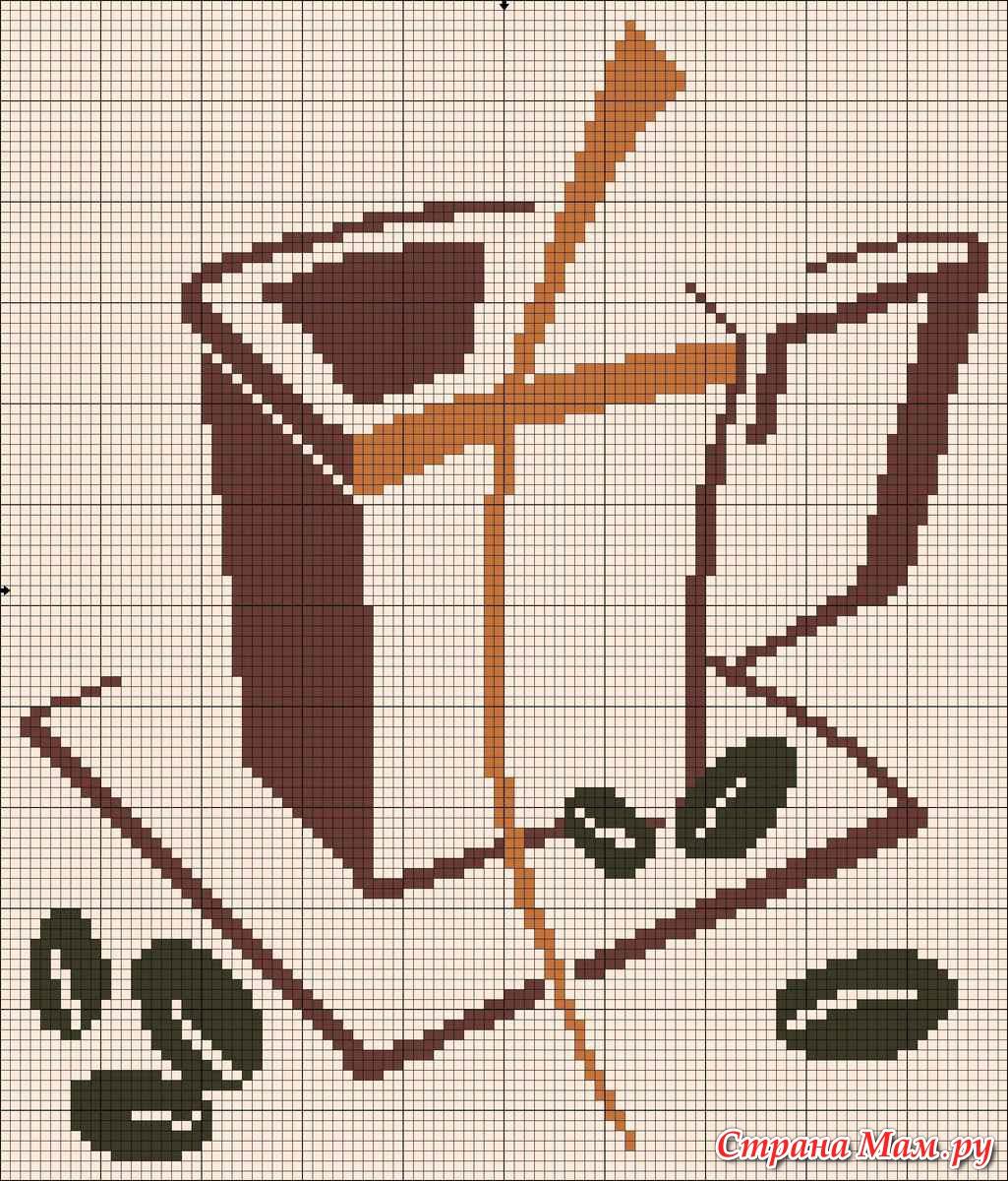 Вышивка крестиком для кухни кофе