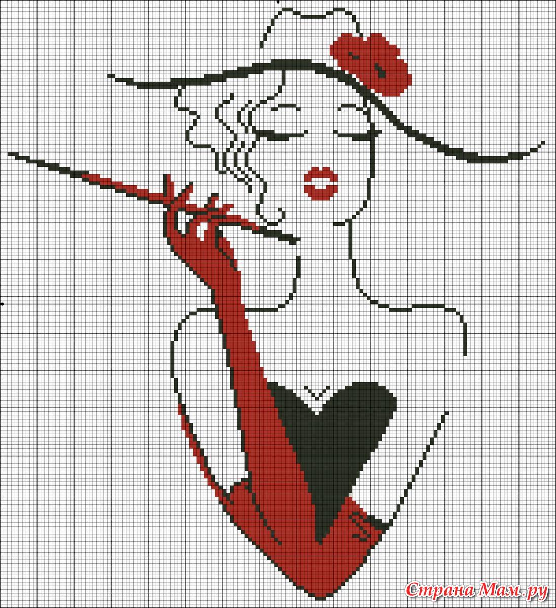 Схема вышивки крестом женщины 27 фотография