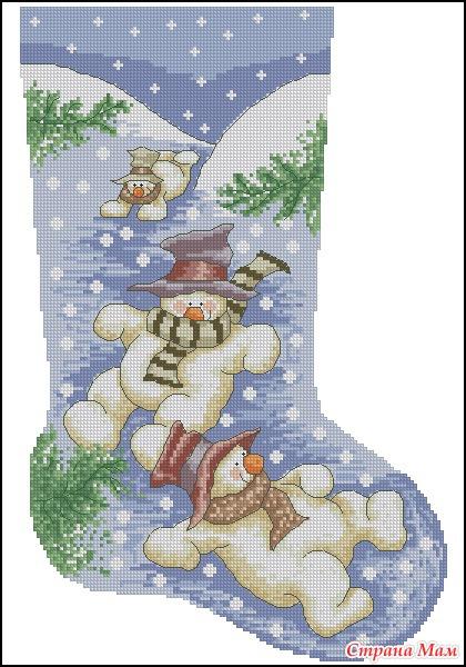 Новогодние схемы вышивки носок