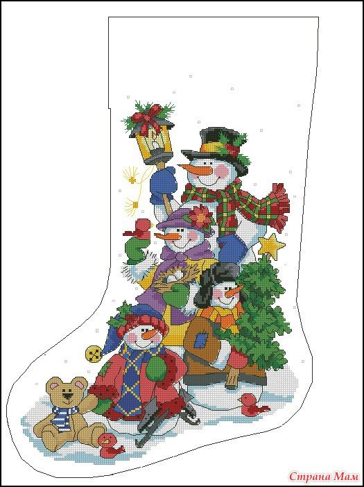 Схемы вышивок новогодних носков