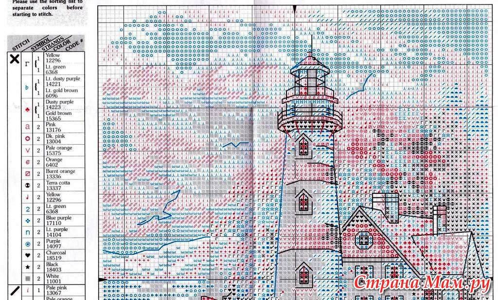 Схема вышивки маяк dimension