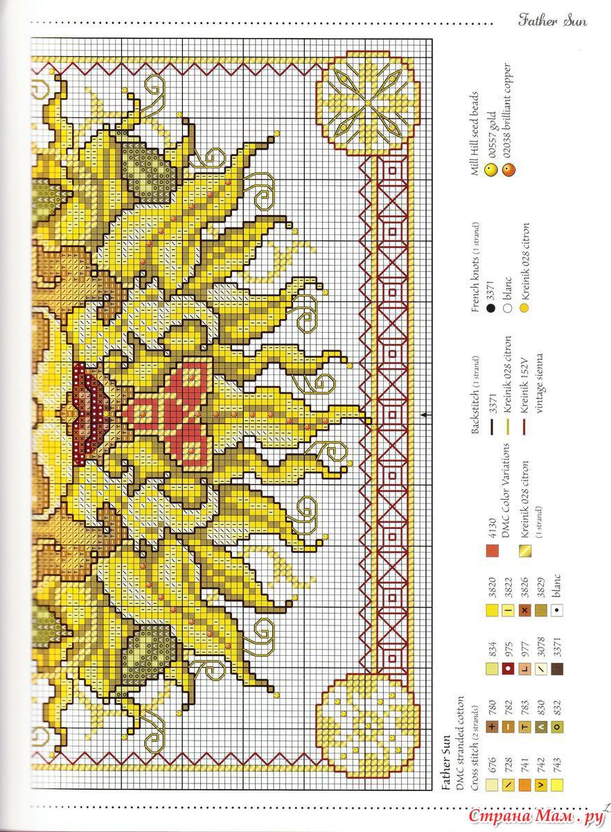 Солнечный крест схема вышивки крестом