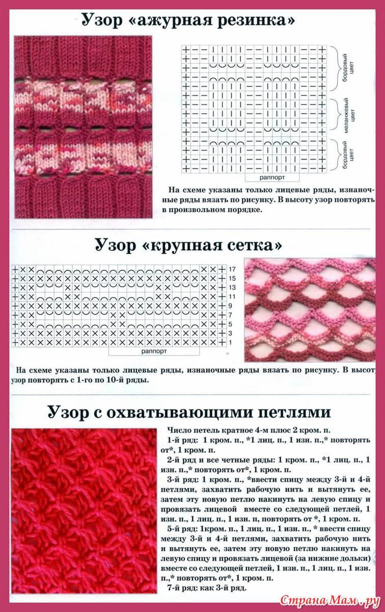 Схемы вязания цветной резинки
