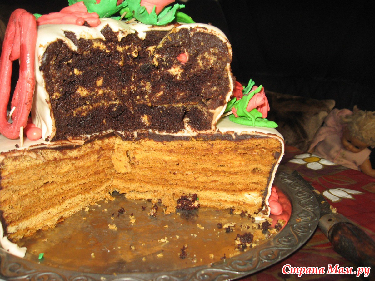 Торт в разрезе с рецептом