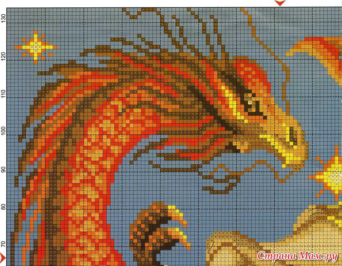 Как вышить дракона крестом схемы