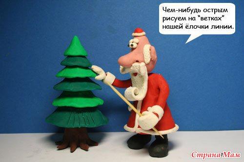 Новогодняя елочка из пластилина своими руками