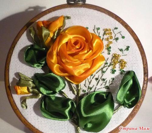 Вышивка лентами роза паутинка с