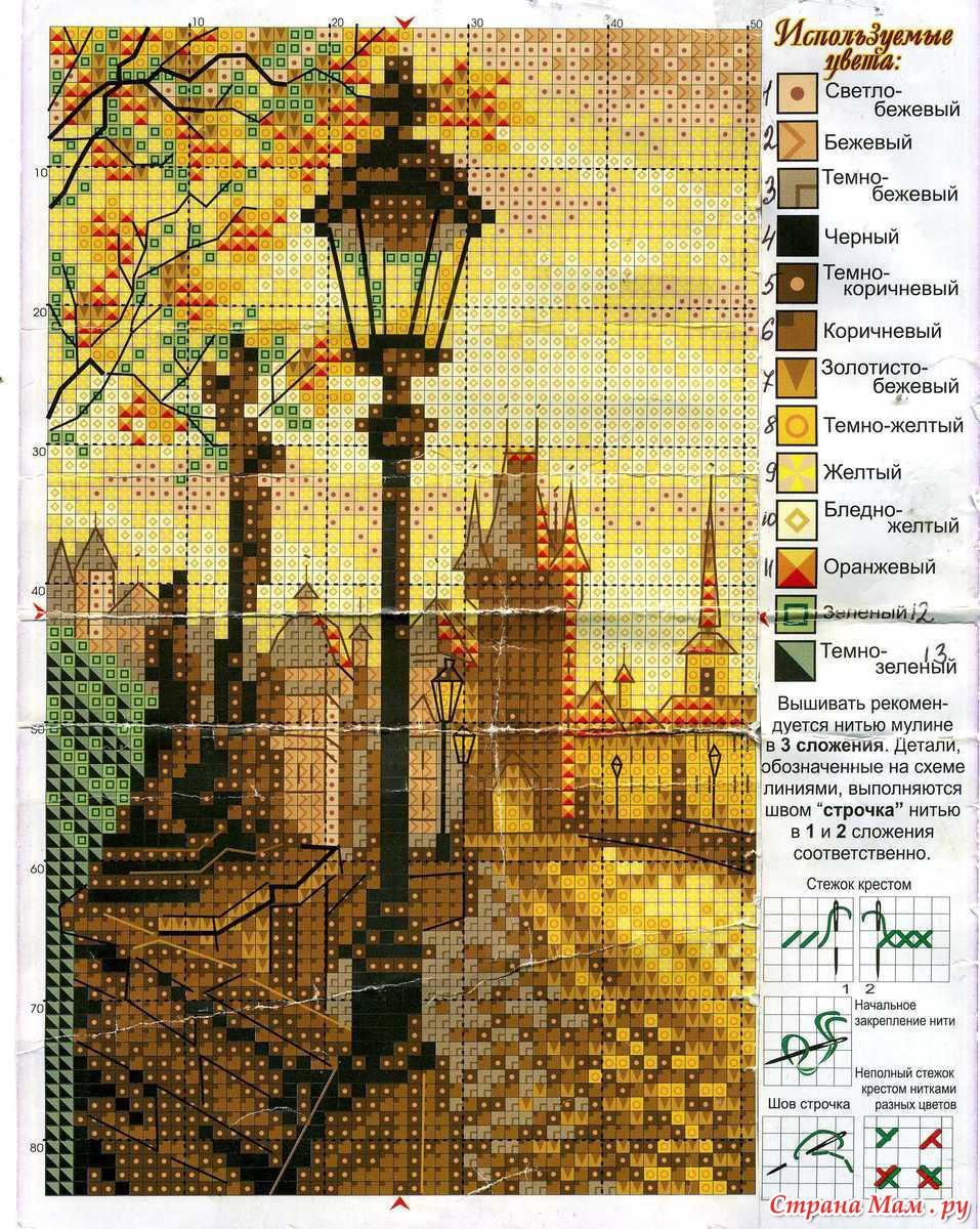 Бесплатно вышивка крестом схема город