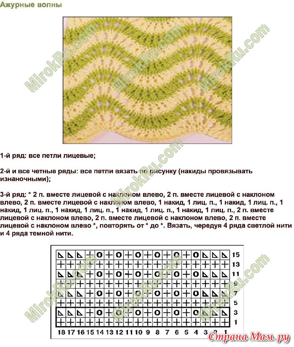 Двухцветный узор вязаный спицами петелики 14