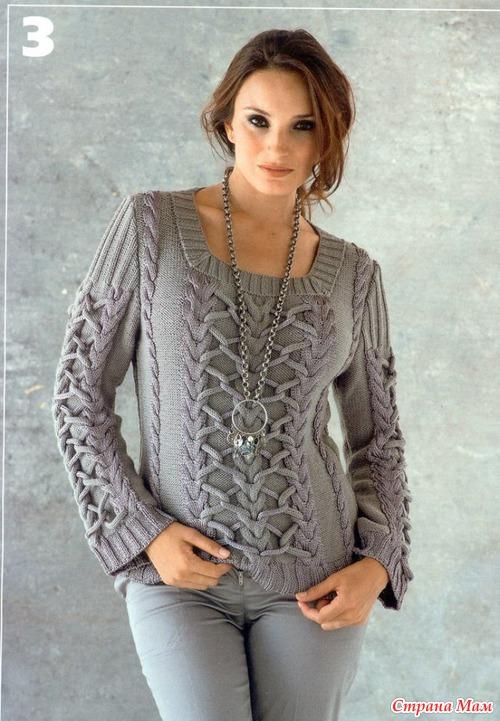 Серый свитер (спицы)