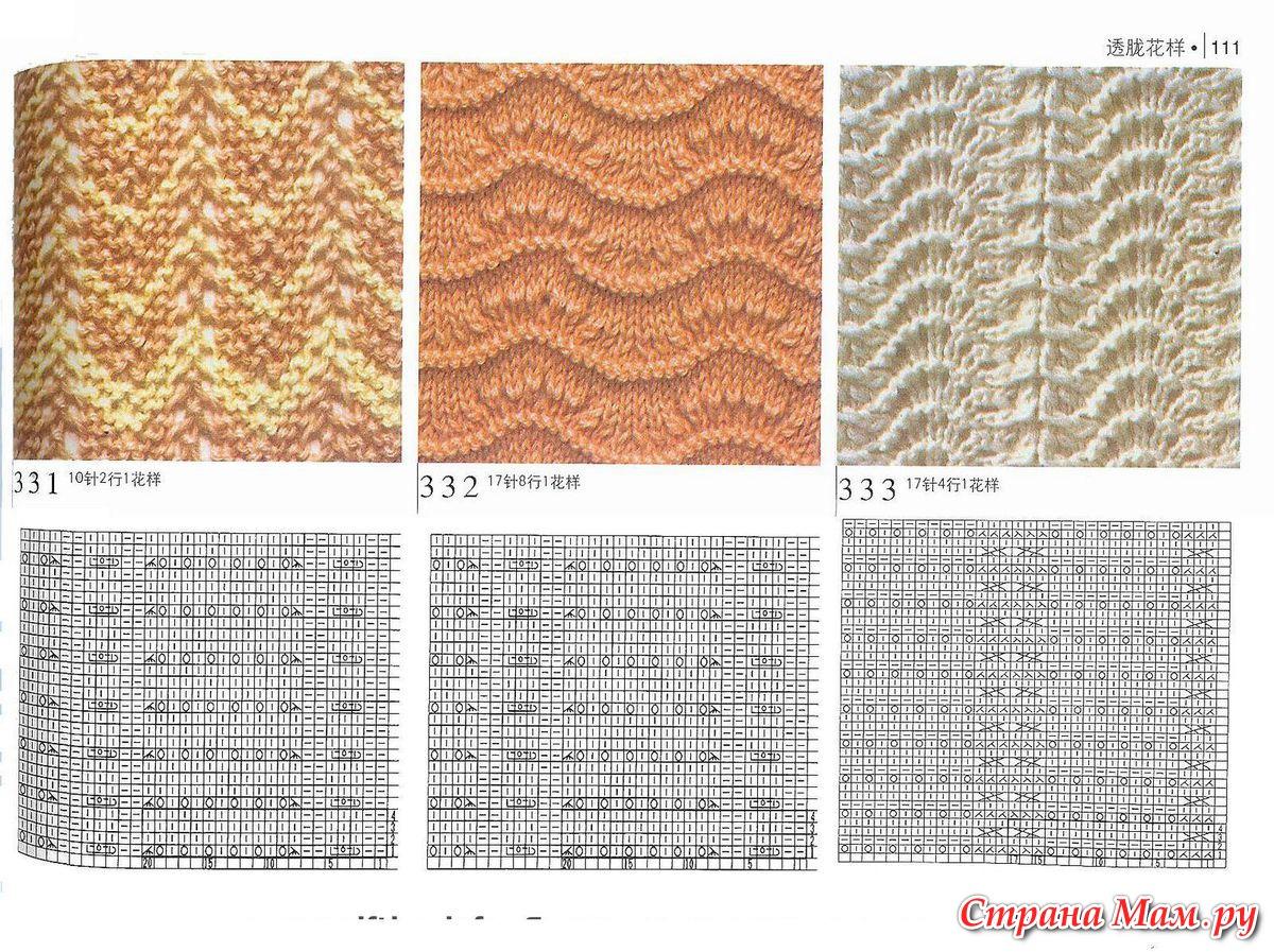 Вязание спицами ажурные волнистые узоры схемы с описанием схем