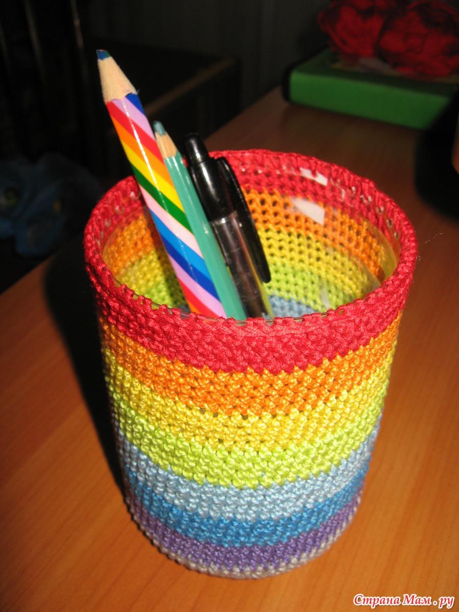 Вязание подставки для карандашей