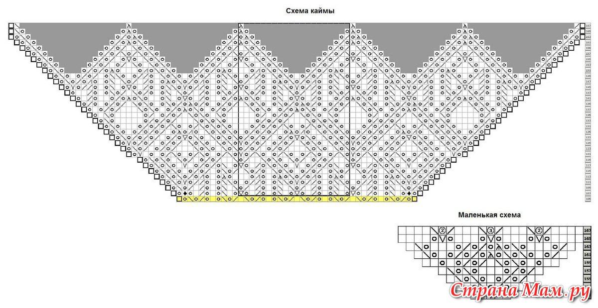 Ажурное вязание шали от угла 628