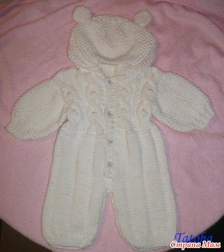 Комбинезон вязать спицами на новорожденного