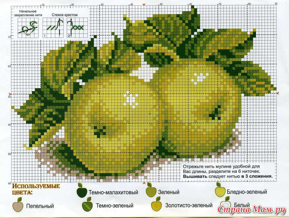 Схема вышивки натюрморт с яблоками