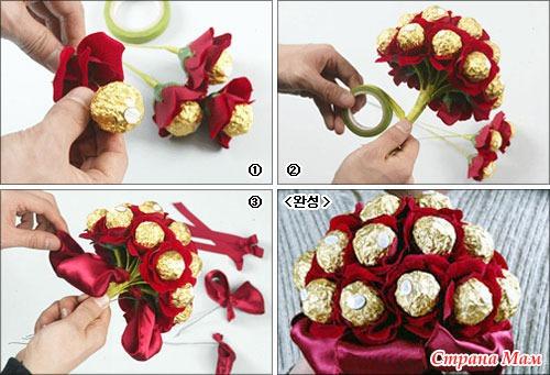 Цветок из сладостей своими руками