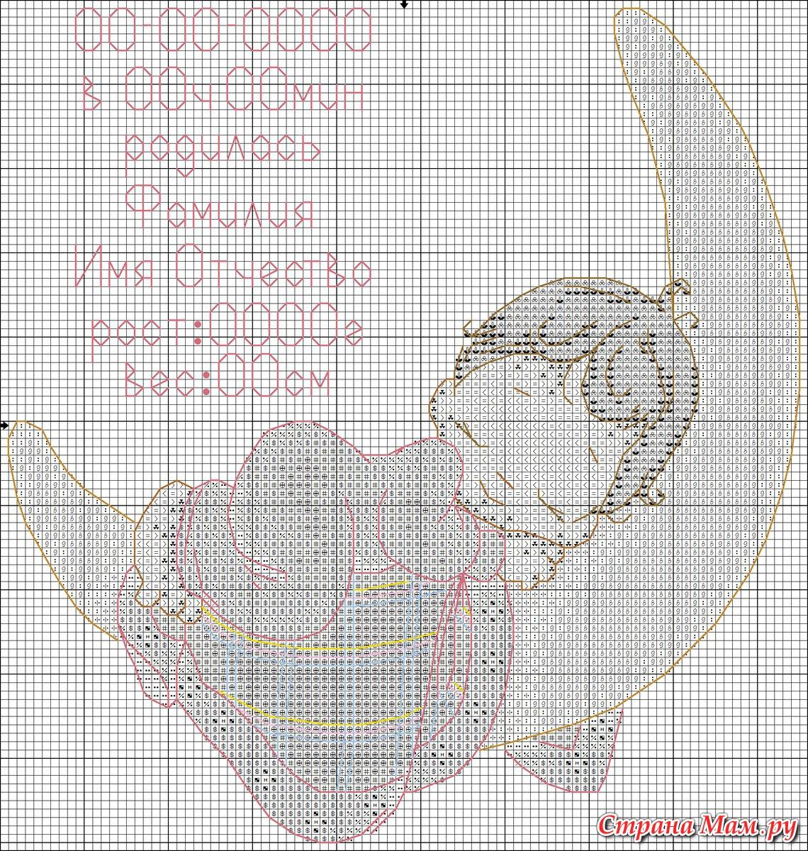 Вышивание метрика для девочек схемы