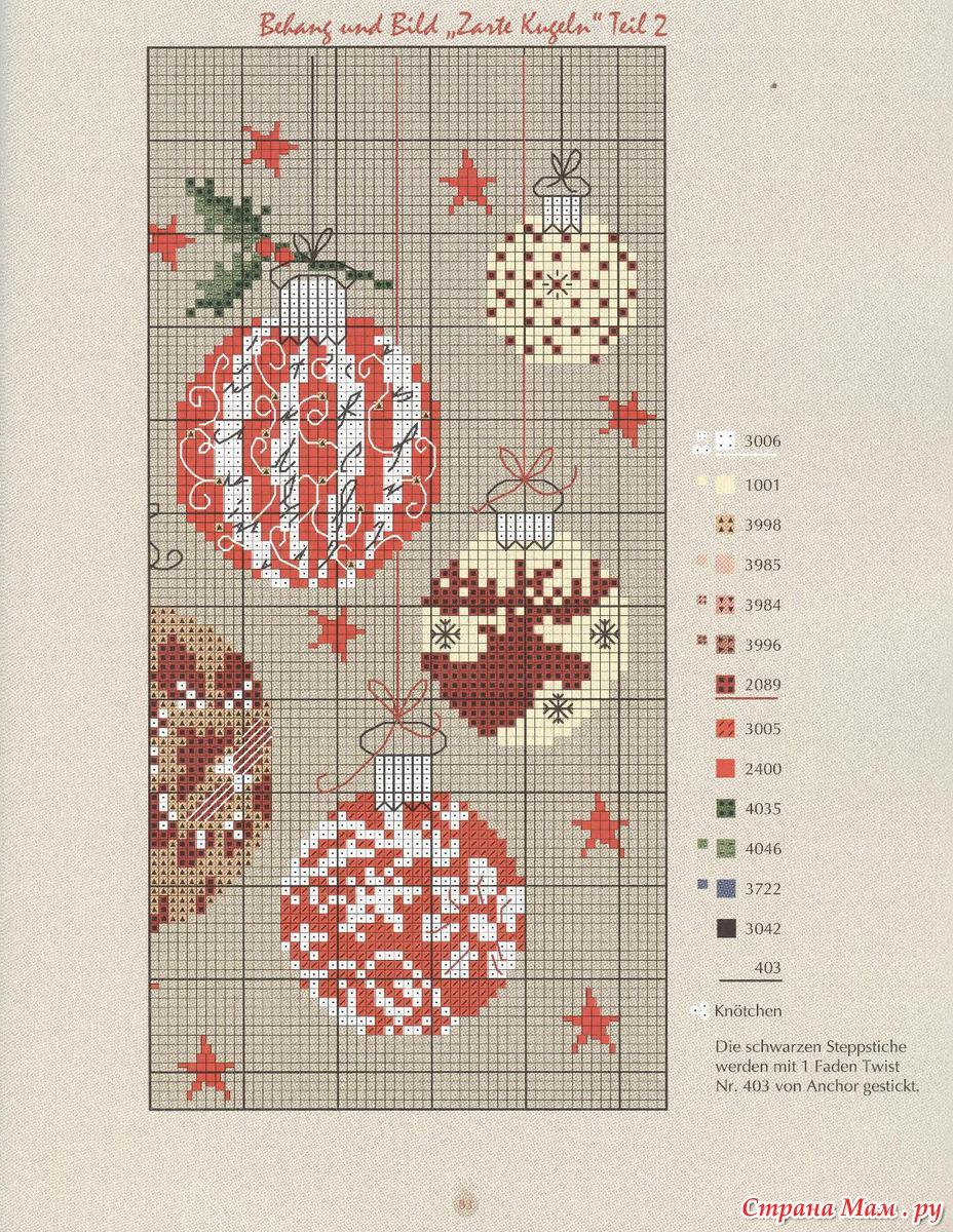 Схемы вышивки крестом на новогодние шарики