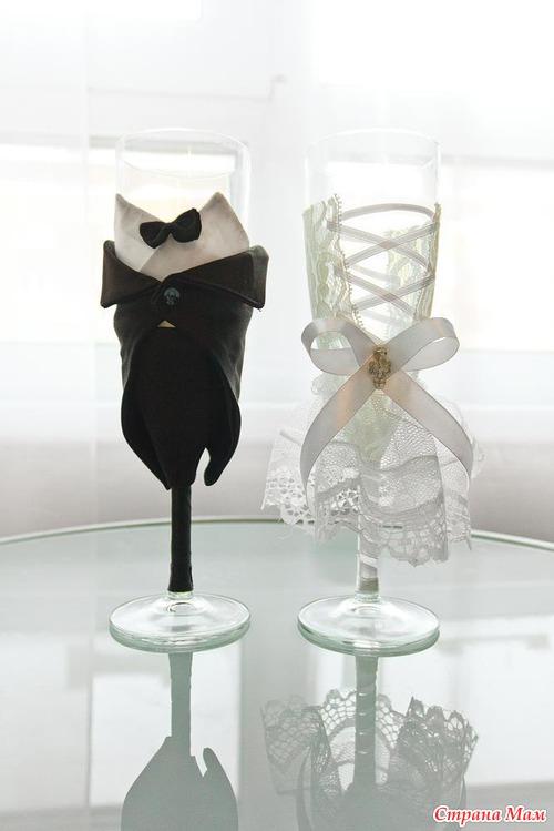 Свадебные бокалы своими руками фото жених и невеста