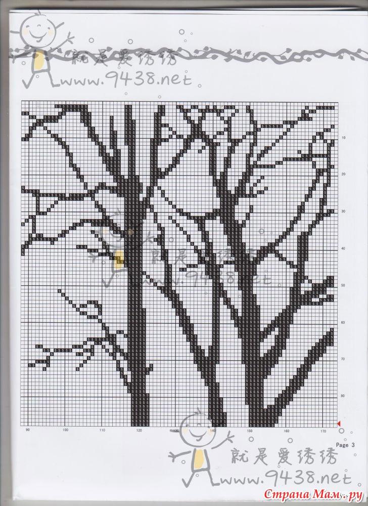 Триптих деревья схема вышивки крестом 62