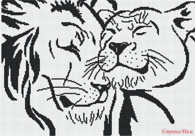 Лев монохром для вышивки