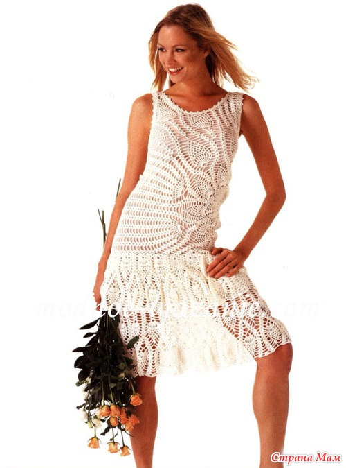 Платье ажурное крючком узор ананас