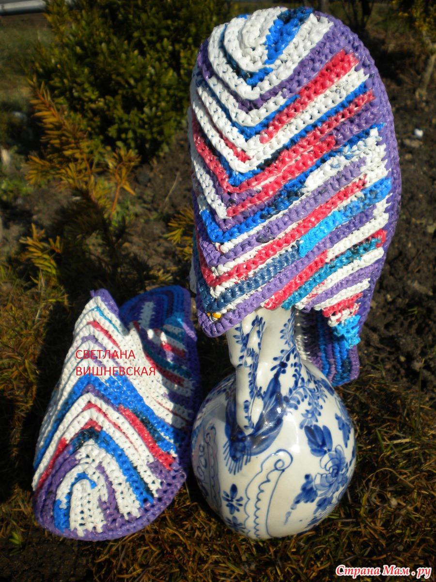 Вязание из пакетов крючком тапочки
