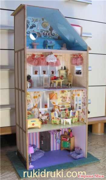 Дом для кукол барби из коробок