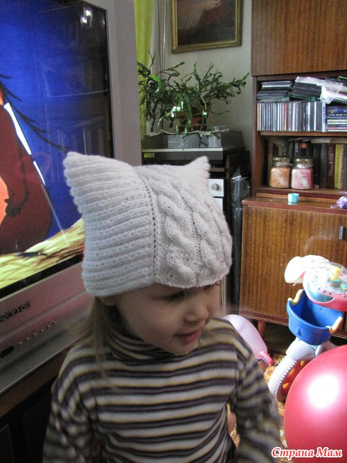 Вязание шапка ушки с ушками кошка 303