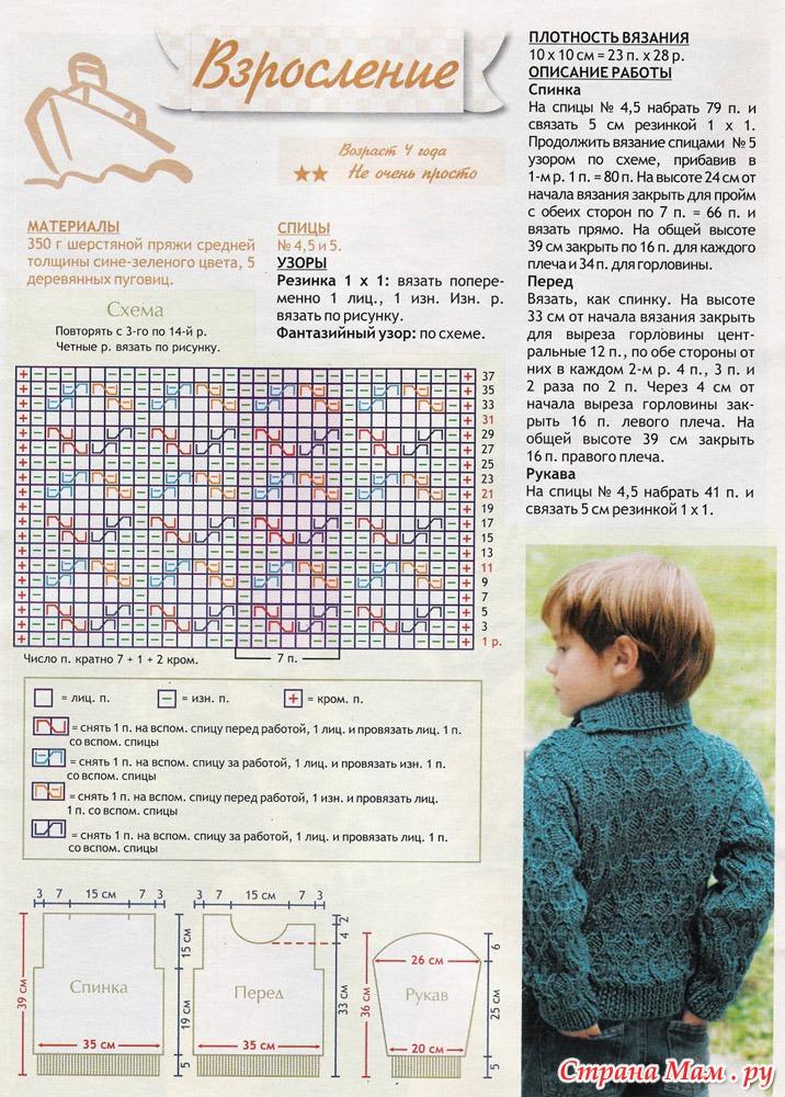 Вязание свитера для ребенка спицами