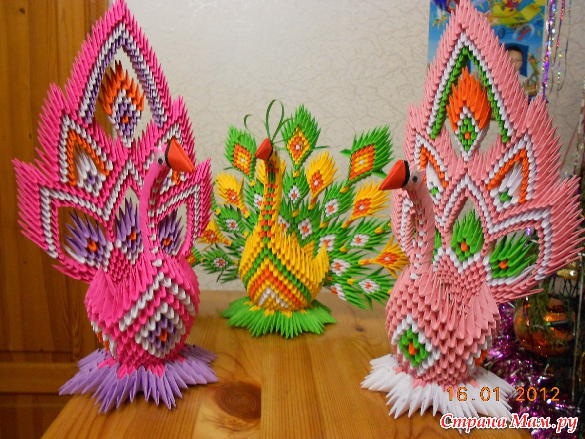 Птицы из модулей оригами схема фото 508