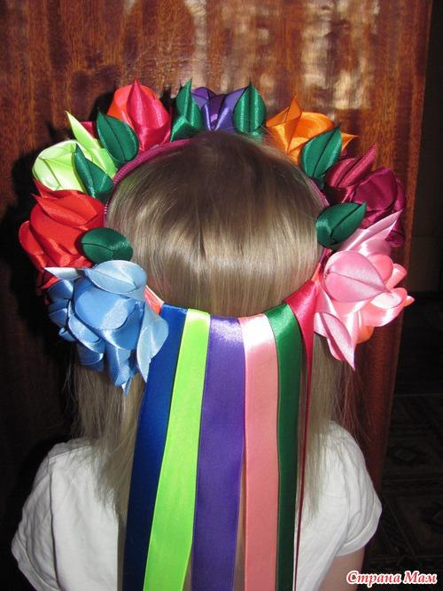 Как сделать бант канзаши для повязки на волосы. Мастер 43
