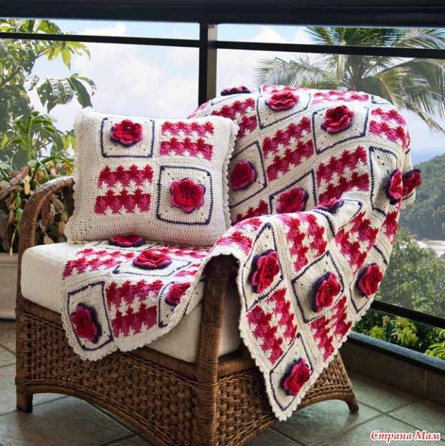 Вязание крючком покрывал и подушек