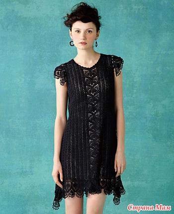 Вязание крючком черное платье