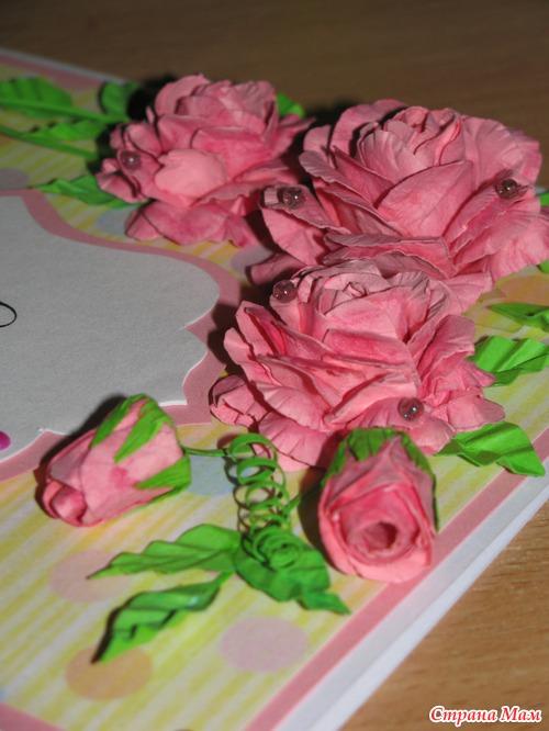 Роза из бумаги для открытки 24