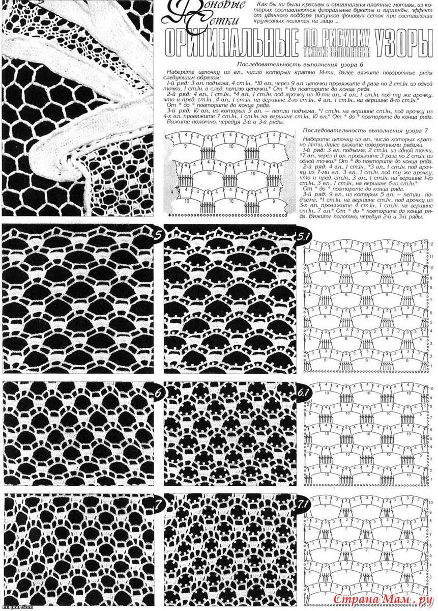 Сетчатые узоры вязания крючком