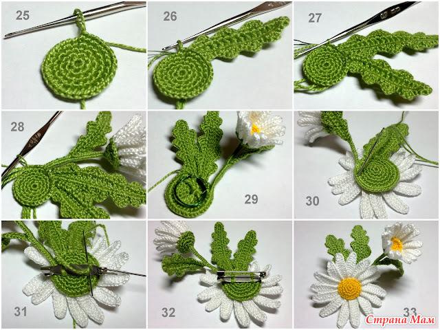 Вязание крючком цветочков листочков