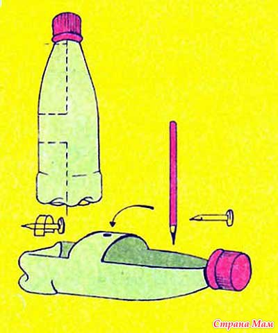 как сделать игрушечную лодку из бутылки