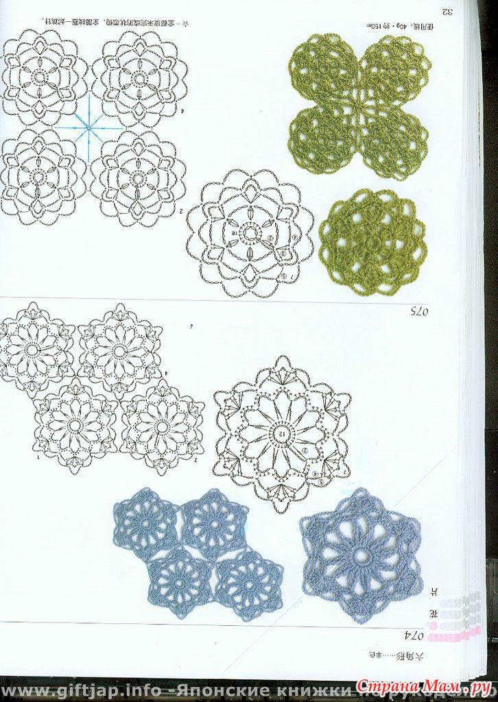 Мотивы круглые крючком со схемами